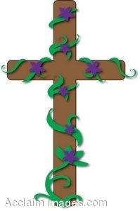 clipart illustration of a wooden cross with a vine of purple flowers rh clipartguide com  free wooden cross clipart