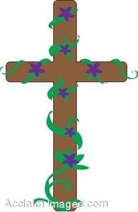 Easter Cross Covered With Purple Flowers