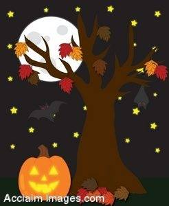 clipart illustration of a halloween scene with a full moon
