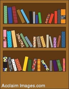 clipart illustration of a wooden bookshelf with different patterned rh clipartguide com bookshelf clipart free bookshelf clipart black and white