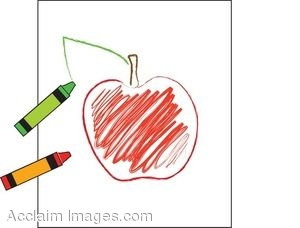 Crayon Colored Apple Picture