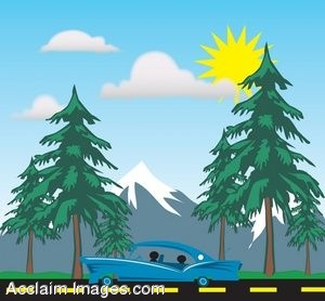 Clipart Illustration Of A Family Driving Through The Woods