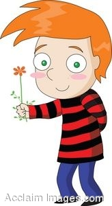 Cartoon Character Boy Holding a Flower