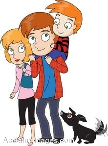 Cartoon Boy  With His Parents and Dog