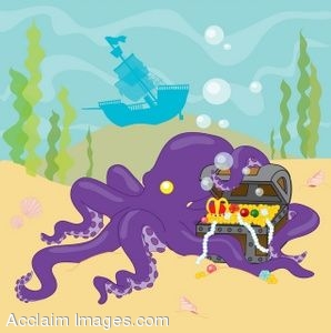 Octopus Holding Treasure Chest