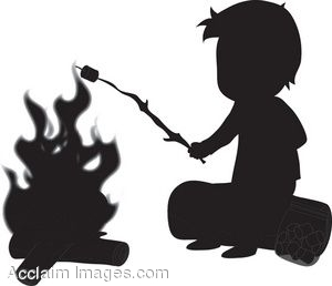 Silhouette of a Boy Roasting Marshmellow on a Campfire