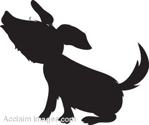 Silhouette of a Dog Howling