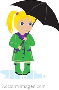 royalty free clipart illustration of a blond girl in the rain