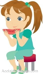 Girl Eating a Chunk of Watermelon