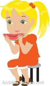 Young Girl Eating a Piece of Melon