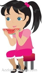 Little Girl Eating a Wedge of Watermelon