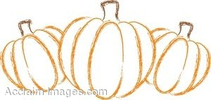 Three Outlined Pumpkins
