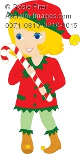 Girl in an Elf Costume With a Candy Cane