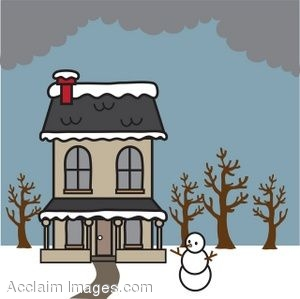 Clipart Picture Of A House In The Winter