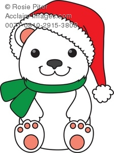 Polar Bear in a Santa Hat