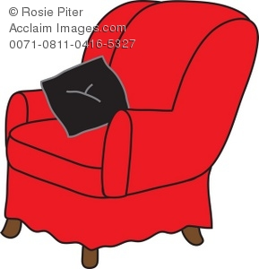 Red Arm Chair With Black Throw Pillow