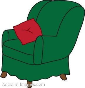 Green Arm Chair With a Red Throw Pillow