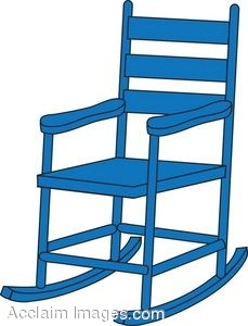 Clip Art Picture Of A Blue Child S Rocking Chair