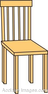 Clip Art Picture Of A Straight Back Wooden Chair