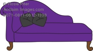 Purple Chaise Lounge With Black Pillows