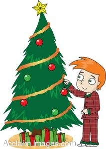 clipart of a boy decorating a tree for christmas