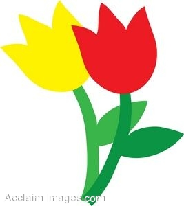 Red and Yellow Tulips Clip Art