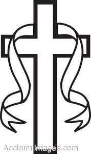 clip art picture of a black and white cross with a ribbon rh clipartguide com free cross clipart black and white