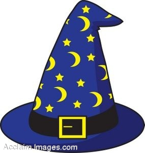 Royalty Free Clipart Illustration of a Wizard's Hat with Stars