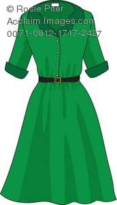 Royalty Free Clipart Illustration of a Casual Green Dress in a ...