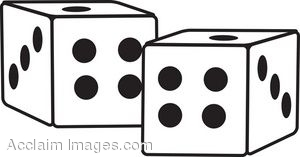 White Dice With Black Pips
