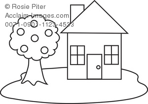 House With Tree In Black And White Royalty Free Clip Art Picture