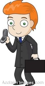 Young Businessman Holding a Cell Phone and a Briefcase