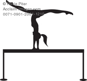 Silhouette of a Gymnast on a Balance Beam