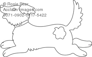Coloring Page Of A Dog Running And Playing Royalty Free Clip Art Picture