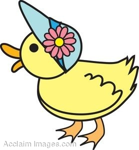 clip art picture of a duck wearing an easter bonnet rh clipartguide com yellow duckling clipart duckling clipart black and white