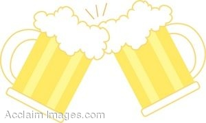 Clip Art Picture Two Mugs of Beer Toasting