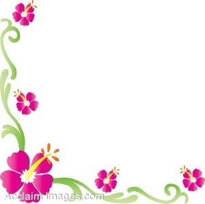 Description: Clip art of a hibiscus flower border. Clipart ...