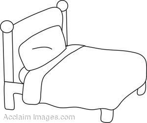 Bed Coloring Page Clip Art