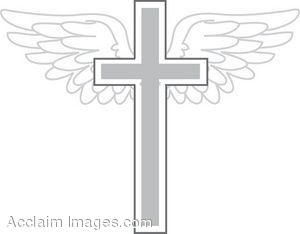 Silver Cross With Wings Clip Art