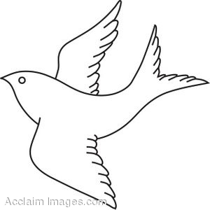 Coloring Page of a Bird in Flight Clip Art