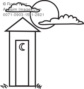 coloring page of an outhouse with crescent moon on the door and a rh clipartguide com Outhouse Signs Outhouse Silhouette