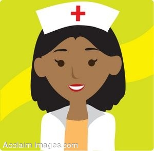 Clip Art Icon of an African American Nurse
