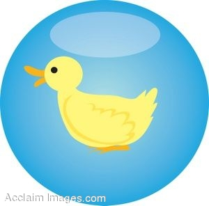 Little Yellow Duck Glassy Button
