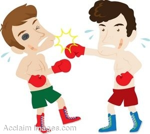 Description clip art of two men boxing cartoon clipart illustration