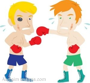clipart cartoon of two men boxing rh clipartguide com Boxing Glove Outline Boxing Gloves