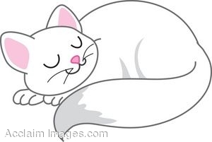 Clip Art of a White Cat Sleeping