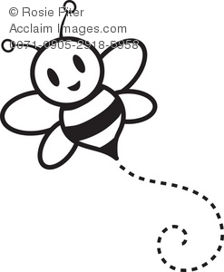 Clipart Illustration of a Bumble Bee Flying Through the Air