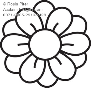 Clipart Illustration of a Flower Coloring Page Drawing