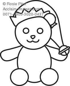 Teddy Bear With Sanata Hat Coloring Page
