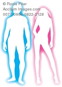 Pink and Blue Silhouette of a Couple Standing Together